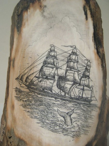 Sailing Ship Mastodon Scrimshaw